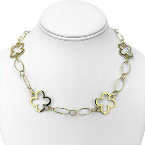 "18k Gold Ladies Fancy Cable Link Necklace 17.5"""